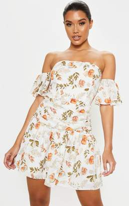 PrettyLittleThing White Floral Print Bardot Pleated Waist Skater Dress