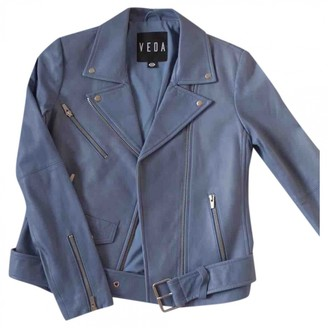 Veda Blue Leather Jacket for Women