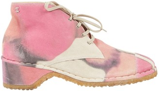 Chanel Pink Suede Ankle boots