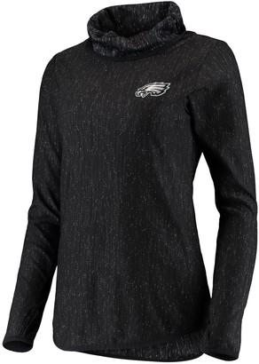 Antigua Women's Heathered Black Philadelphia Eagles Equalizer Cowl Neck Pullover Sweatshirt