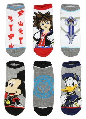 Bioworld Kingdom Hearts Socks Adult 6 Character Video Game Designs Pack No Show Ankle Socks