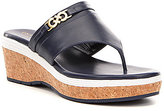 Cole Haan Lindy Grand Thong II Leather Wedge Sandals