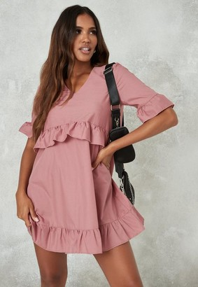 Missguided Pink V Neck Frill Waist Smock Dress