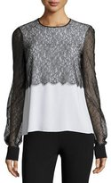 Michael Kors Layered Lace Crewneck Blouse, White