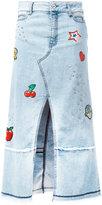 Just Cavalli patched denim midi-skirt - women - Cotton/Polyester/Spandex/Elastane/Aluminium - 27