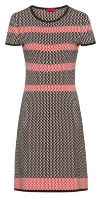 HUGO BOSS Short Sleeved Dress With Geometric Jacquard Knit - Patterned