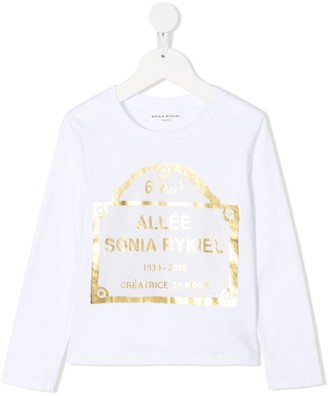 Sonia Rykiel Enfant Logo Print Long-Sleeve Top