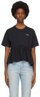 Victoria Victoria Beckham Navy Flounce Hem T-Shirt