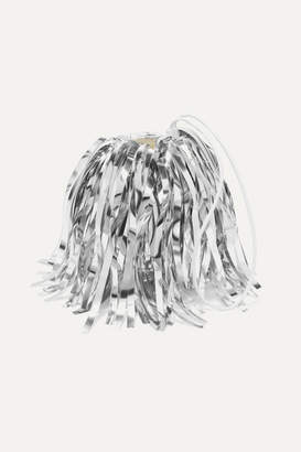 Off-White Off White Metallic Fringed Faux Suede And Pvc Clutch - Silver