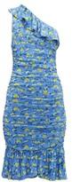 Diane von Furstenberg Aerin Ruched Floral-print Mesh Dress - Womens - Blue Multi