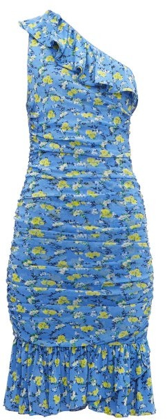 Diane von Furstenberg Aerin Ruched Floral-print Mesh Dress - Blue Multi