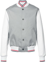 Thom Browne varsity bomber jacket - men - Cotton/Calf Leather - 1