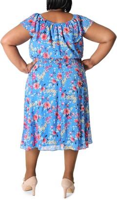 Sandra Darren Off The Shoulder Chiffon Midi Dress