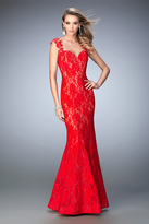 La Femme 22617 Lacy Sleeveless Mermaid Evening Gown