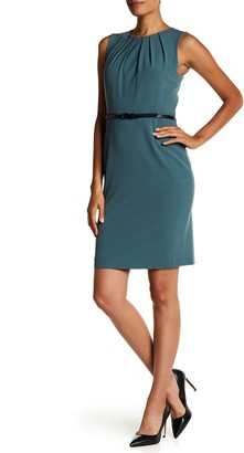 Nine West Belted Jewel Pleat Neck Bi Stretch Dress