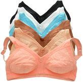 Angelina Coral & Blue Floral Wireless Full Coverage Bras Set - Plus Too