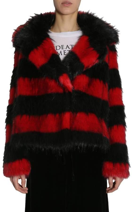 McQ Striped Faux-fur Jacket