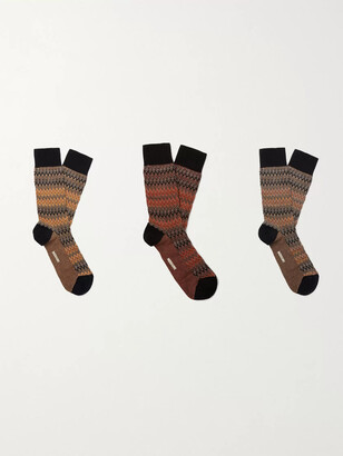 Missoni Three-Pack Crochet-Knit Cotton-Blend Socks - Men - Orange