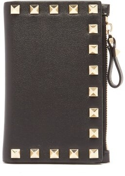 Valentino Rockstud Leather Card And Coin Purse - Black
