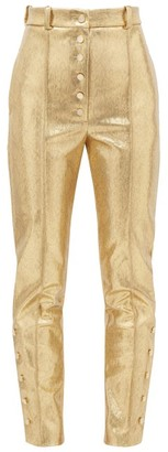 Hillier Bartley High-rise Snake-effect Lame Trousers - Womens - Gold