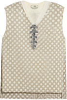 Fendi Embellished cutout PU and cashmere top