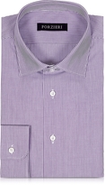 Forzieri Purple & White Striped Cotton Slim Fit Men's Shirt
