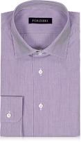 Forzieri Purple & White Striped Cotton Slim Fit Men's Shirt