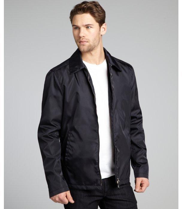 Prada navy nylon zip front jacket