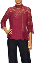 Plenty by Tracy Reese Victorian Cotton Lace Panel Peplum Blouse