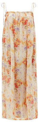 Loup Charmant Rimini Floral-print Cotton-blend Voile Dress - Yellow Multi