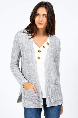francesca's Giovanni Lace Up Back Cardigan - Gray