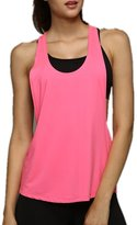Moyishi-ca Womens Basic Loose Low V Neck Racerback Sport Tank Top