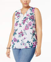 INC International Concepts Plus Size Sequined Half-Zip Shell, Created for Macy's