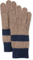 Portolano Colorblock Knit Gloves, Nile Brown/Blue