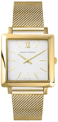 Larsson & Jennings LJXII Norse Milanese 34mm Gold Satin-White