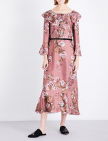 Alberta Ferretti Ruffled floral-print silk-twill midi dress