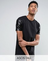 Asos TALL Longline T-Shirt With Sequin Sleeves