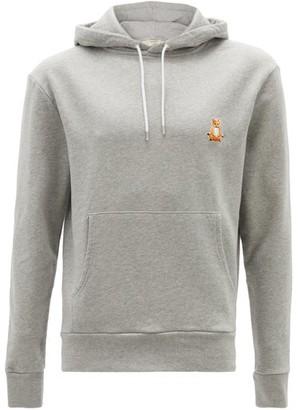MAISON KITSUNÉ Lotus Fox-patch Cotton-jersey Hooded Sweatshirt - Grey