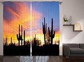 Western Decor Sunny Desert Cactus Picture Art Prints Wild Nature Sunset Bedroom Living Kids Teens Room Curtains for Boys Girls Two Panels Set 108 x 90 Inches Length, Blue Orange Yellow Black