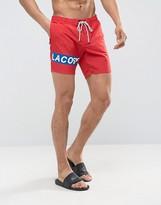 Lacoste Leg Logo Swim Shorts in Red