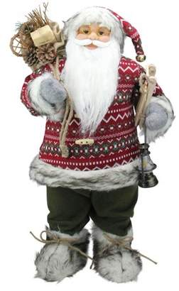 Nordic Northlight 24 Standing Santa Claus Christmas Figure with Snow Sled and Gift Bag