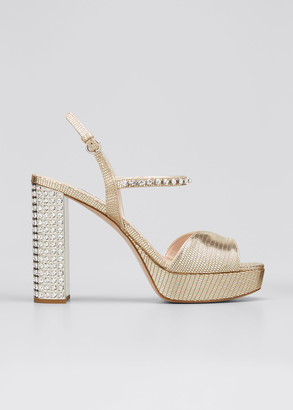 Miu Miu Metallic Embellished Platform Sandals