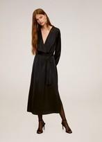 MANGO Satin midi dress black - 4 - Women