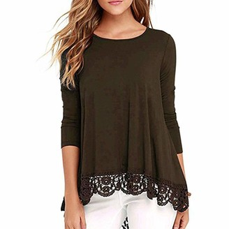 KBUY Womens Lace Casual Long Sleeve Tunic Tops Loose Blouse T Shirt Oversize Ladies Lace Tops Casual Long Sleeve Tunic Tops Baggy Blouse Jumper V-Neck Pullover Tops Plus Size S-3XL Coffee