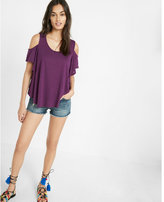 Express slub cold shoulder tee