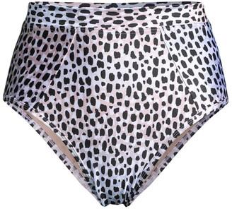 SUBOO Amelie Animal-Print High-Waist Bikini Bottoms