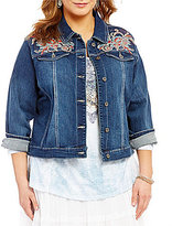 Reba Plus Embroidered Denim Western Spirt Jacket
