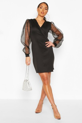 boohoo Deep Wrap Front Dress With Organza Sleeves