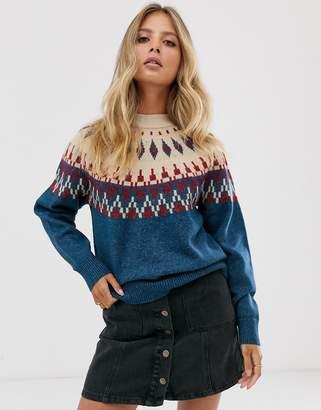 Pieces fairisle knitted jumper-White