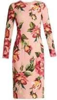 Dolce & Gabbana Round-neck rose-print crepe-cady dress